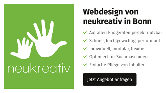 Webdesign von neukreativ in Bonn